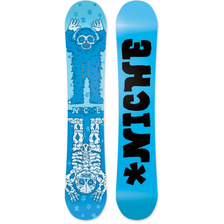 Snowboard Snowboarding, and the snow we ride on is a gift. The Niche Theme Snowboard recognizes this and raises the standards of manufacturing by choosing to assemble this park-slaying beast primarily with recycled and natural materials. - $259.50