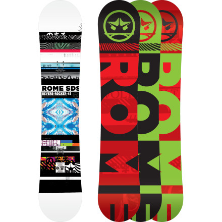 Snowboard The Rome Reverb Rocker Snowboard is a versatile, fun freestyle deck that won't get squirrely at speed or loop out on landings thanks to the MtnPop hybrid camber profile and QuickRip sidecut. The StraightBiax laminate gives you a butter-able flex that still locks into a mean nosepress, while tip-to-tail carbon strips and fiberglass Hot Rods help you pop giant ollies off cat-tracks and over slow signs. - $239.97