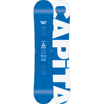 Snowboard If you boiled a modern snowboard to its bare bones, you would have the Capita NAS Wide Snowboard. Unfortunately, there's a flood of decks out there using terms like 'artist series' and 'space-age additives' as a crutch, not to mention the plethora of camber-meets-rocker-meets-blah-blah profiles. But the Normal Ass Snowboard holds its own with quality wood, reliable construction, and good ol' camberall for the big-footed regular guy. - $227.97