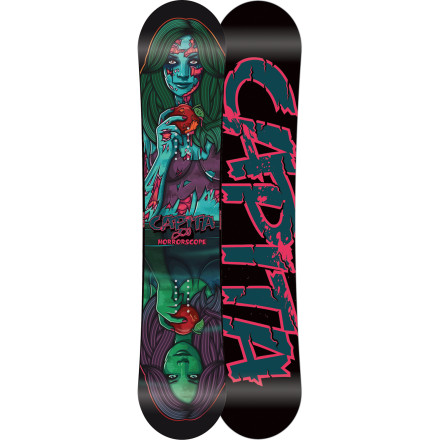 Snowboard Grab the Capita Horrorscope FK Snowboard and arm yourself with its rail- and zombie-killing technology, because in the dark streets of winter there lurks a new breed of undead. These recently evolved zombies don't stagger, limp, or groan with unhinged jaws. They actually have good posture and good looks to matchthe ultimate case of 'looks can be deceiving.' So the next time you're cleaning up at a rail mission under the stars and a super-hot female emerges from the shadows and admires your skills, just keep in mind she could possibly turn to a decaying man-eater at any second. - $251.96