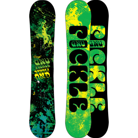 Snowboard Designed for the big-footed freestyler, the Gnu Park Pickle PBTX Wide Snowboard keeps your toes and heels covered for drag-free park riding. And with a little help (OK, a lot) of help from the Banana profile, Pickle technology, and Magnetraction edges, this balanced ride can deliver you to any terrain on the whole mountain. - $293.97