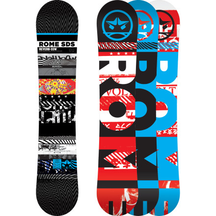 Snowboard The Rome Reverb Wide Snowboard gives big-footed, all-mountain freestyle fiends a ton of board for their buck. With a super-poppy and predictable Stay Positive camber profile, HotRods fiberglass reinforcements for extra ollie power, and Basalt Impact Plates for lightweight durability, the Reverb spins off park jumps and charges groomers with speed and control, yet still flexes enough to hold a proper 5-0 through the down-flat-down. - $239.97