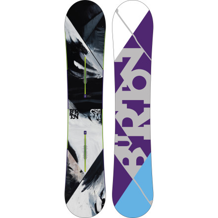 Snowboard Burton team riders Kazu Kokubo and Freddi Kalbermatten rely on the Custom X's powerful, precise, and insanely lightweight ride to take apart 22-foot superpipes and mammoth-sized backcountry features alike. All-new for 2013, the 45 Carbon Highlights cut even more weight without compromising the laser-quick energy transfer that makes the Custom X so rippable at speed. - $389.97