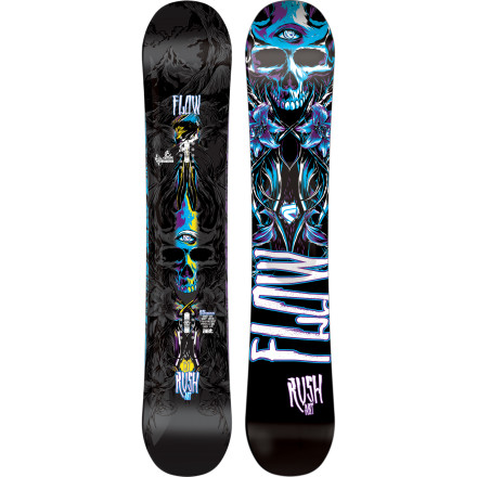 Snowboard Flow designed the Rush All-Mountain Freestyle Snowboard with stability in mind. Flow's Augmented Base Technology (A.B.T.) utilizes silicone inserts in the base to dampen vibration and  absorb shock for more predictable, powerful turns and reduced fatigue after hours of riding. The Hybrid I-Rock profile strategically combines camber and rocker for peak performance on any aspect of the mountain. - $349.99