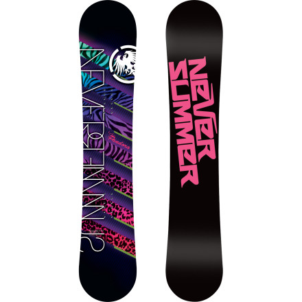 Snowboard With a forgiving-yet-snappy flex, true-twin shape, and Rocker Camber hybrid profile, the Never Summer Pandora Snowboard is designed for girls who love launching, spinning, and pressing features both in and out of the park. Turn the entire resort into your own personal playground, thanks to the Pandora's stable, smooth, and playful ride. - $269.99