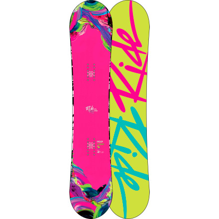 Snowboard Oh, girl! The Ride Women's OMG Snowboard pushes the women's freestyle envelope yet again with the powerful yet playful Hybrid Twin rocker-camber profile and the women-specific pop of the LSD Pop Rods 1.0. Aside from receiving high acclaim from magazines and blogs, the OMG shows up in super-shred Hana Beaman's videos; she also works closely with Ride's engineers to make sure everything comes out just right. - $269.97