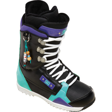 Snowboard The DC Misty Women's Snowboard Boot may look cute, but slip on a pair and you'll quick realize it's all business. Direct power lacing and an internal ankle harness keep your foot locked down for all-day comfort, and the articulated cuff and molded backstay give you the flexibility to tweak presses and grabs without worrying about spraining an ankle. - $102.00