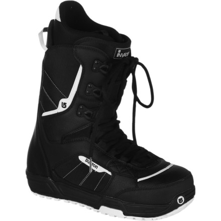 Snowboard When the snow starts falling, make sure you're properly equipped with the Burton Invader Snowboard Boot. Dependable traditional lacing and comfy heat-moldable Imprint 1 liner keep you out on the front lines all season long. - $83.97