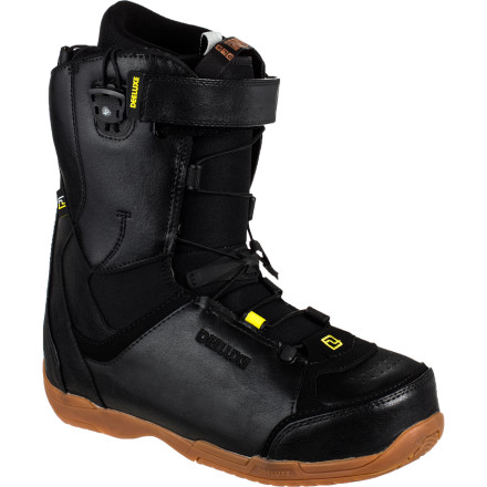 Snowboard Deeluxe designed the Alpha Snowboard Boot for the rider who wants a no-nonsense freestyle boot with a comfortable, soft flex, a customizable fit, and a price tag that won't cause any internal organs to swell or rupture. - $99.50