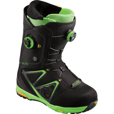 Snowboard The Flow Hylite Boa Snowboard Boot was developed for the freeride-minded rider who demands comfort with his performance. Newly improved with re-tooled ZipFit liner lacing system and the highly tactile, responsive Bare Foot Technology outsole, the Hylite Boa is as hungry as you are to get to the goods. - $230.99