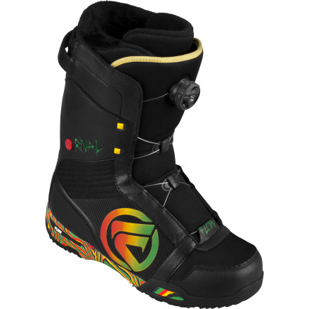 Snowboard The Flow Rival Boa Snowboard Boot combines ridiculous light weight, a luxurious EVA midsole, and the BOA H3 Coiler closure system for a snug, custom fit. The Rival's soft flex and low-profile outsole help you step it up in the park with huge tweakability and plenty of board feel. - $137.99