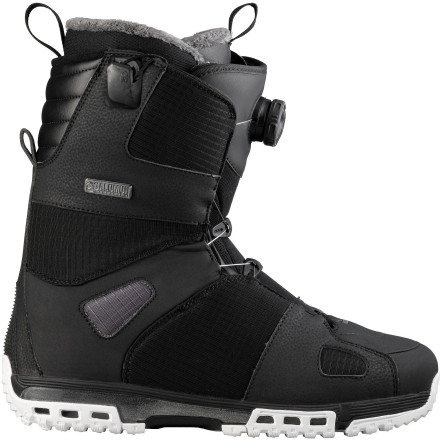 Snowboard The Salomon Savage Boa Str8jkt Snowboard Boot offers a comfy, moderate all-mountain flex and a super-convenient combo lacing system. A Boa reel on the outer shell allows twist-and-go fine-tuning, while the Str8jkt internal harness keeps your heels locked down with the yank of an externally-accessible handle. - $167.93