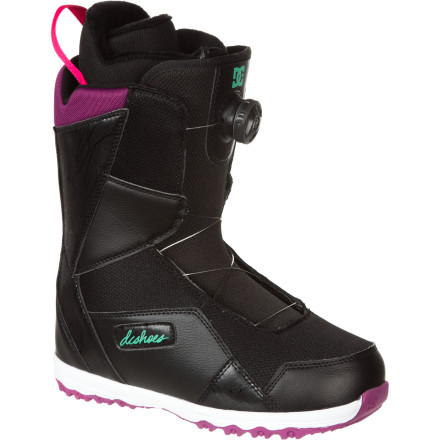 Snowboard The DC Search Women's Boa Snowboard Boot features a Boa Coiler lacing system so you can throw them on when you get to the mountain and not worry about having to adjust or tighten them throughout the day. And when the day is done, they come off just as easily and have an Aegis anti-microbial treatment so you can toss them in the back of your car and forget about 'em. - $108.00