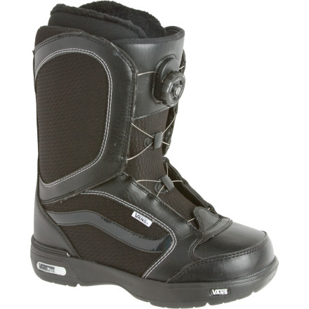Snowboard The Encore Snowboard Boot has long been one of the better-selling boots in Vans' lineup, and with good reasonthe quick and easy Boa system, forgiving flex, and dialed fit have won over fans the world over. Boa Coiler lacing gets you booted up and on the hill with the twist of a knobno more fumbling with laces in the parking lot while your fingers freeze solid. - $113.97