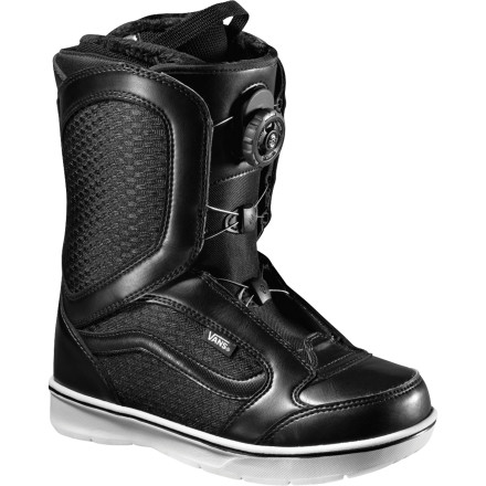 Snowboard Aptly titled, the Vans Women's Encore Snowboard Boot comes back again and again and improves year after year. What makes this model so popular among female freestylers is it's glove-like fit from the Boa Coiler closure system and soft flex achieved though the  articulating hinge where the upper and lower parts of the boot meet. The addition of the new low-profile but high-traction ClassicLite outsole gives the Encore an even more of a skate look and feel. - $119.94