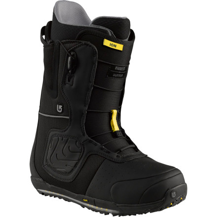 Snowboard The legendary featherweight big-mountain freestyle whip that is the Burton Ion Snowboard Boot returns to continue its legacy of sought-after comfort and supportbut this time it's running Pirellis. That's right, the best just got better with incomparable tread developed by Pirelli for optimal traction that gives you a secure foot-hold both in the binding and during the backcountry ascent. In addition to its snow-tire inspired design, the Ion's all-star assortment of tech is still present, including Speed Zone lacing and the anatomical support of AutoCANT cushioning. - $257.97