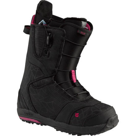 Snowboard The Burton Women's Felix Snowboard Boot isn't just a small version of a men's boot. Burton re-designed every element of the Felix to suit a woman's specific riding needs. This medium-flex boot is a true all-mountain ripper, so you can take it from the park straight into the backcountry without a second thought, and then blast out of the pow onto an icy hardpack run with versatile flex and feel that doesn't have to compromise in any condition. The Felix is even pre-wired for your Therm-ic battery-powered three-position boot heater, so you don't have to deal with cold feet anymore. - $167.97