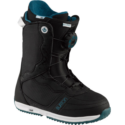 Snowboard When you're riding hard all day every day, you deserve to be comfortable out there. The Burton Bootique Women's Snowboard Boot features a low-profile outsole with B3 gel inserts for maximum shock-absorption and the soft-flexing shell keeps things relaxed. Plus, the heat-moldable Imprint 1 liner has a luxurious faux-fur lining and slots to insert disposable toe warmers to keep your feet toasty in any conditions. - $119.97