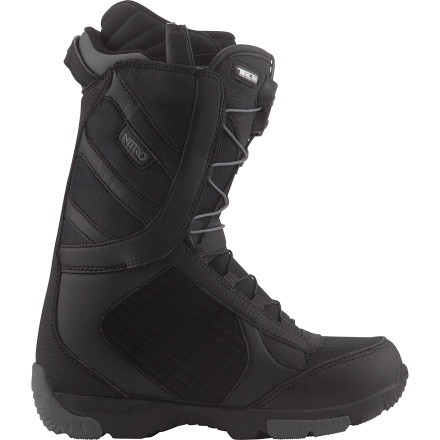 Snowboard The all-new Axis TLS Snowboard Boot utilizes trickle-down tech from Nitro's higher-end designs to create a comfy, versatile, and solid-fitting boot. The women's specific liner ensures solid heel hold and no calf bite, while the Reducer integrated liner/shell system lowers the boot's overall volume for improved response, a lower profile, and less material weight. - $107.97