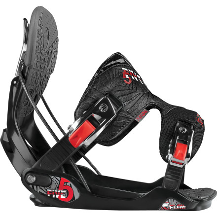 Snowboard Flow designed the Five Snowboard Binding for progressive riders who are looking for one binding to tackle the whole mountain, from deep days to icy groomers to warm spring days in the slush-covered terrain park. - $113.99