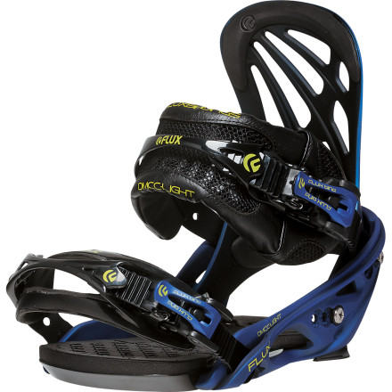 Snowboard Call it high-end freestyle. Call it your favorite freeride binding with a freestyle makeover. Call it the Flux DMCC-Light Snowboard Binding. The DMCC-Light takes the technology baseplate of the DMCC and adds a park-friendly Ultima FS highback and redesigned forward lean to enable you to take your fierce freestyle trickery in the trees, over cliffs, off booters, and maybe even back to the park at the end of the day. - $339.95