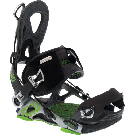 Snowboard You don't need to go all aggro on nature to get aggro on the mountain. The Gnu Agro Men's Snowboard Binding uses renewable bio-polymers made from non-food stock vegetation in the highback to reduce waste and harmful materials. The highback also reclines for quick entry and exit, so you only need to adjust the straps once and then you're good to go all season. If for some reason you do need to make some minor adjustments, it also has a micro-adjustment buckle for on-the-fly tweaks. - $247.96