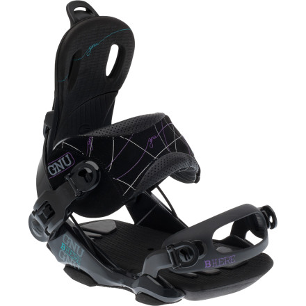 Snowboard Wherever you are, you're in the moment in the Gnu Women's B-Here Snowboard Binding. Fluid response and an all-around medium flex will have you riding at your best whether you're lacing a line through the trees. dropping into a bowl, or sliding through the park. - $125.97