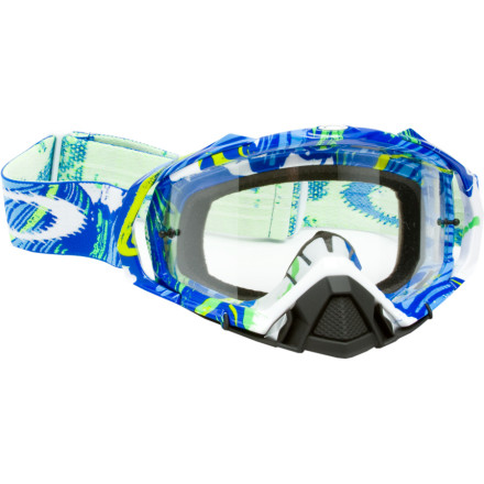 Snowboard Whats a hardcore downhill mountain biker or motocross junkie without the Oakley Mayhem MX Bike Goggle' This badass goggle guards your vision, so you can focus on the prize. The wide lens gives you an impressive field of view, and the F2 anti-fog technology helps keep the lens from steaming up in the heat of the moment.Lexan lens provides 100% protection against UVA, UVB, UVC, and harmful blue light up to 400nm Durable O-Matter strap outriggers deliver even distribution of goggle pressure High-impact-resistant lens gives you peace of mind when riding Quick-release interchangeable strap attachments Two lenses (clear and dark grey), removable O-Matter nose guard, and 7 pack of Oakley laminated tear-offs are included - $42.00