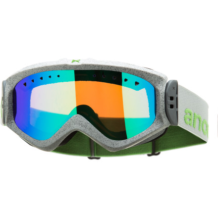 Snowboard If you're the type of gal who rides from first to last chair, toss on the Anon Women's Majestic Goggle. Its smaller frame profile fits you just right while you hammer out runs, hunt for powder stashes, and take in the beauty of the mountains. Equipped with an air mesh ventilation system, the Majestic keeps your vision fog-free, while its adjustable strap hinge, plush face foam, and contoured nose ensure cushy comfort. - $56.97