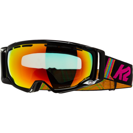 Snowboard Designed exclusively for Women, the K2 Captura Goggle is built to perform for talented lady rippers who attack the hill day in and day out regardless of weather conditions. Spherical mirrored lenses enhance vision in low light and work to reduce glare while the ocular frame design cuts down on the appearance of the frame in your field of vision. The woven straps even have a silicone lining for a non-slip grip against your helmet. - $87.50