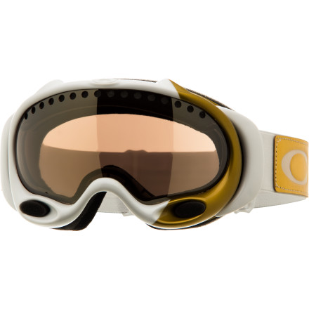 Snowboard When you ski fast enough to win Olympic medals, you need something to aid your vision amid the cold, screaming wind. The Oakley Women's Lindsay Vonn Signature A-Frame Goggle works for her, so you know it can accommodate your pace down the mountain. As you lay down huge, fast arcs, the A-Frame's top and front vents allow plenty of fresh air while the F3 anti-fog coating and dual-lens design help prevent condensation. - $77.00