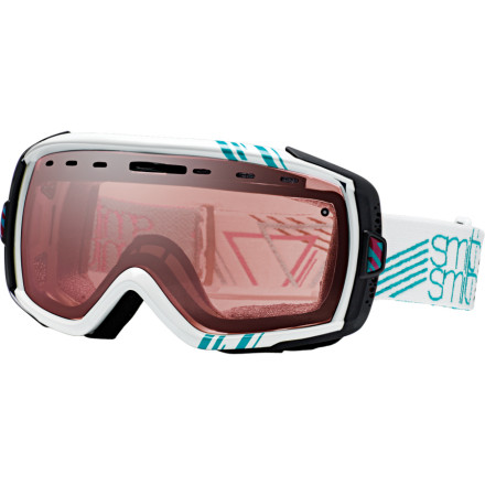 Snowboard The new Smith Heiress Goggle must have had a wealthy relative kick the bucket recently, because it brings a massive fortune of style and performance to your ski and board experience. The spherical Carbonic-X polycarbonate lens is shatter, scratch, and fog resistant like none other, and receives further aid from Smith's patented Regulator adjustable ventilation. Dual-layer foam with a fleece face lining keeps you smiling even in bitter peak winds, and a multitude of design, color, and lens tint options let you pick the perfect pair. - $71.97