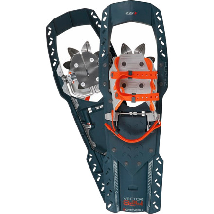 Snowboard Travel safely and efficiently from the snowy trailhead to an icy summit with the Louis Garneau Vector UX Zenith 824 Snowshoe strapped to your hiking or winter boot. A multidirectional Split Jaw front crampon and rear V-Rail crampon plunge into hard snow and ice on the upper mountain, while the U-shaped polymer frame and deck keep you buoyant for the soft snow in the wooded valley. A mitten-friendly Twin Clip Light binding secures you to this lightweight shoe with a stretchy double belt, which resembles a ski strap. - $132.97