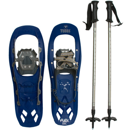 Camp and Hike Get a leg up on your winter trekking goals with the Tubbs Men's Flex ESC Snowshoe Kit. This kit's Flex ESC Snowshoes, collapsible trekking poles, and convenient tote bag compromise a value-packed winter-trekking ensemble that won't put a massive dent in your wallet. The snowshoe's QuickFlex binding system lets you step and an out in seconds, and the shoe's Flex Tail tech delivers an smooth, consistent flex with each stride you take. - $118.97