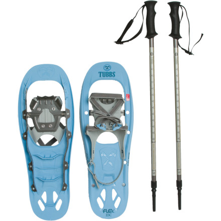 Camp and Hike Get a head start on winter fun with the Tubbs Women's Flex ESC Snowshoe Kit. Tubbs designed this women-specific Flex ESC Snowshoe with comfort and ease-of-use in mind and tossed in a pair of collapsible trekking poles to create value-packed winter-trekking kit that won't force you to take out a second mortgage. The snowshoe's QuickFlex binding system lets you step and an out in seconds, and the shoe's Flex Tail tech delivers an smooth, consistent flex with each stride you take. - $135.96