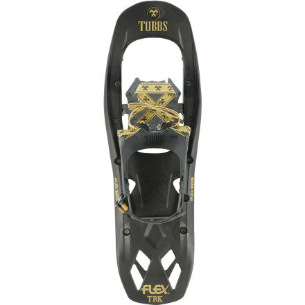 Camp and Hike If you plan on hiking off the beaten path, make sure the Tubbs Flex Trek Snowshoe is strapped to your foot. The Torsion Deck frame flexes to accommodate uneven terrain, and the 3-D curved traction rail securely grips ice even when you're traversing a steep hillside. You'll also appreciate the Active Lift heel that reduces strain on your calf muscles when your path requires you to head uphill. - $97.97