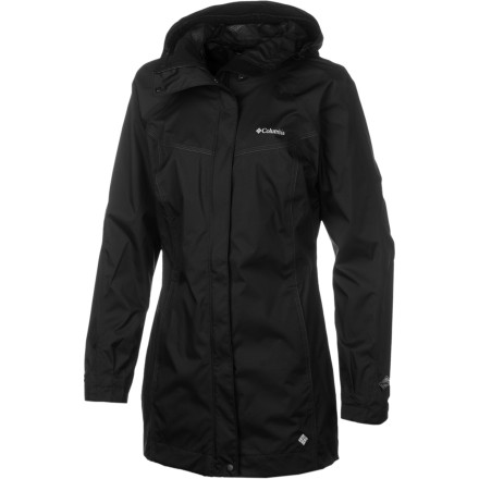 Fitness Before stepping out into wet weather, arm yourself with the Columbia Womens Ramble Rain Jacket. Constant drizzle, unexpected showers, and all-day gullywashers meet their match thanks to the Omni-Tech waterproof breathable protection that extends from the tip of the adjustable storm hood to the mid-thigh hem. Fully taped hems and a snap-close storm flap provide extra protection from the elements, and a mesh lining adds to the Ramble Rains breathability and against-the-skin comfort. Contrast stitching and feminine lines insert a dash of style, and the Camo Base fabric boasts a soft hand. - $62.97