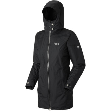 Fitness This spring, stay on top of the wet weather with the Mountain Hardwear Women's Elara Coat. The adventurous souls at Mountain Hardwear made this sleek shell with a waterproof breathable Conduit membrane to block out rain, snow, and hail. The women-specific cut provides a flattering, flowing look, and the longer length provides additional bum coverage if you're stuck waiting for a bus on a wet bench. - $89.98