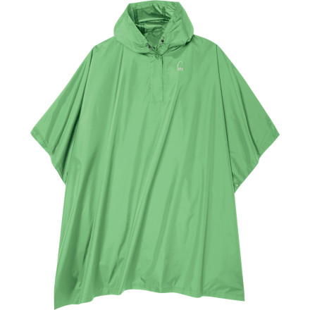 Camp and Hike Throw the Sierra Designs Womens Storm Poncho over your shoulders when you need quick protection from a sudden downpour. This lightweight hooded poncho keeps you and your pack covered and can double as an ultralight shelter. The waterproof polyester and fully taped seams keep water from sneaking in, and a seven-inch neck-opening gives you some air. - $22.72