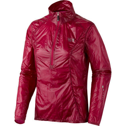 Fitness There's no need to pack heavy for light-and-fast day treks; stuff the ultralight Mountain Hardwear Women's Ghost Whisperer Anorak Jacket securely in your back pocket and be prepared for light winds and drizzle. A deep neck zipper helps ditch excess heat when you bike, hike, or run, and a reflective trim makes you visible to motorists in low-light conditions. - $87.72