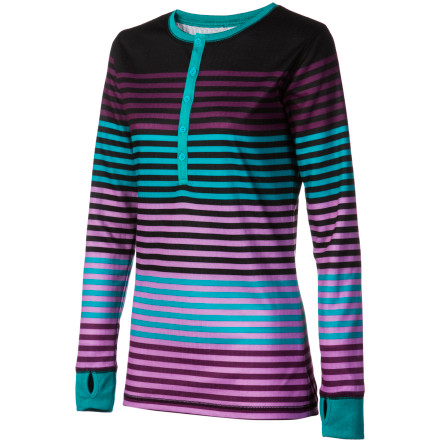 Fitness The DAKINE Women's Aubrey Henley Top mixes technical performance with casual style. You get warmth from the double-layered knit and you get to look hot even if you're chilling in your baselayer. Plus, the quick-wicking fibers manages moisture, and the antimicrobial finish prevents this top from getting funky. - $33.71