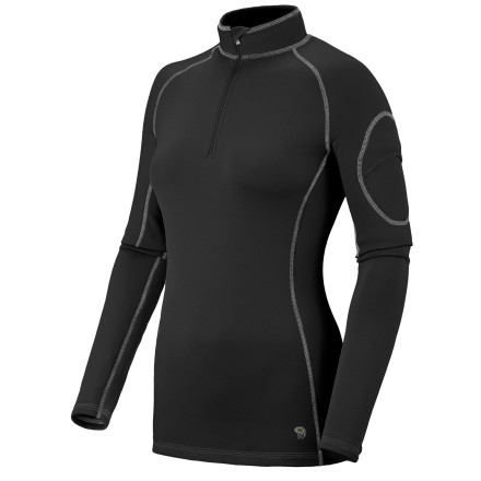 Fitness The Mountain Hardwear Women's Micro Power Stretch Zip Top is more than a base layer shirt. It is a wicking, fuzzy-soft, stretchy, quick-drying machine that accompanies you on every ski day, backpacking evening, and everything in between. When your crank up your aerobic engines, a deep front zipper lets cool airflow in. Smooth flatlock seams and a trim, feminine fit make the top fit easily with your outer layers for a bunch-free feel. - $42.48