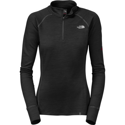 Fitness Stop getting caught in the hot-then-cold cycle with the help of the North Face Blended Merino Women's Zip-Neck Top. FlashDry fibers keep you dry so you don't freeze the minute you stop moving, and merino wool maintains warmth and fights odor so you don't have to wash it every time you wear it. - $89.95