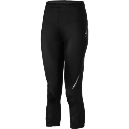 Fitness CWX designed the Womens  3/4 Length Stabilyx Tight with the support commonly reserved for folks with muscle and joint injuries. Their logic is, quite sensibly, that an ounce of prevention avoids a ton of physical therapy. (And really, who enjoys those appointments') CW-Xs patented Conditioning Web supports each muscle group in your leg and holds your knee steadily in place. Extra support at the waistband lends a little extra power to your lower back and core muscles. And fortunately, even when the temps start testing your sweat glands, the CWX Stabilyx Tights Coolmax fabric speedily wicks away excess moisture. Rather than feeling damp and overheated, youre free to focus on your run. - $89.95
