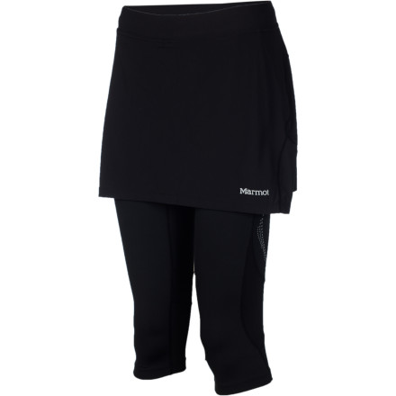 Fitness If you enjoy the breathable, stretchy feel of a tight when you're out for a run, but aren't so crazy about the half-naked feel, turn to the Marmot Women's Trail Breeze Capri Skirt. This combo features a performance capri topped by a stretchy, tailored-looking skirt that delivers comfort on the trail and allows you to run errands before or after your workout without feeling underdressed. - $41.22