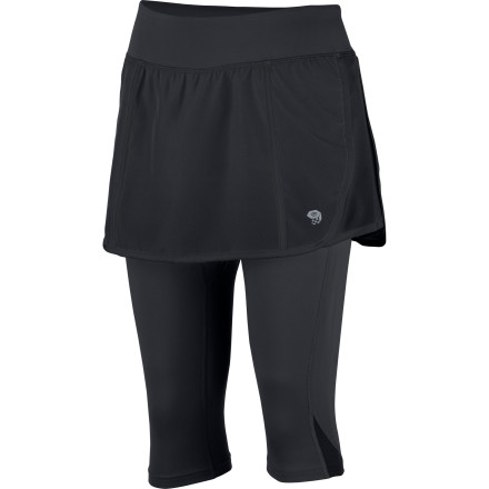 Fitness Flash that trail with the Mountain Hardwear Women's Pacer 2-in-1 Skeggin. The Skeggin combines a cute running skirt with just-below-the-knees tights for a bit of extra warmth while you  sprint down the trail. - $69.95