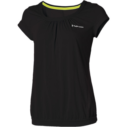Fitness It's easy to dream about the ideal top for your active needs; it may not be as easy to believe that the Peak Performance Women's Mokta Top is just such a piece. With a snug inner bra and loose-fitting tank outer, the Mokta blends relaxed styling and support for total comfort whether you prefer to walk, run, or hike. Moisture-wicking, quick-drying polyester means you won't suffer from an excessively saggy appearance when you decide to turn up the output and sweat more than usual. - $42.48