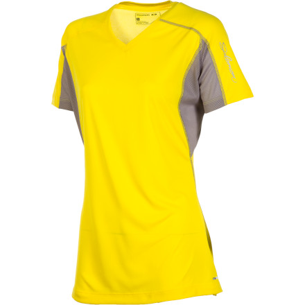 Fitness With moisture-wicking, fast-drying fabric and stretchy mesh panels for ventilation and mobility, the Salomon Trail IV Shirt is uber-versatile for your warm-weather sports. Cool and comfy beats out sticky-sweaty every time. - $18.98