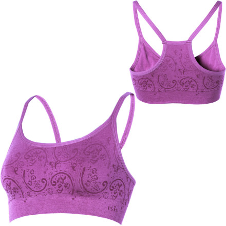Fitness A pretty floral pattern, bright jewel colors, and the double-layer construction of the Isis Henna Sports Bra may tempt you to go shirtless during your workout. This racerback bras wicking, fast-drying Evaporator finish works to keep you cooler and drier during intense exercise, while seamless construction eliminates uncomfortable chafing. - $27.27