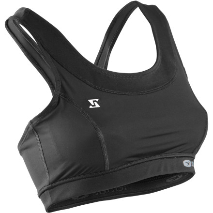 Fitness Whether you're heading out for a training session or out to the race, count on the Sugoi Women's RS Tri Sports Bra for excellent support and comfort.Offers high-impact support for A/B cups, less for C/D cups Zone Construction features mesh inserts for added ventilation Soft Power Mesh attached bra offers supportive stretch and breathability Bottom band of brushed elastic offers moisture-wicking support Flat seams reduce chafing Design features include racer back with keyhole detail - $32.97